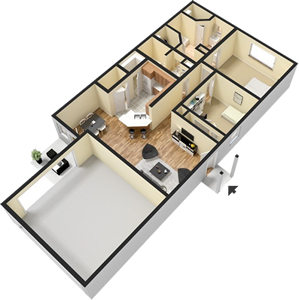 Two Bedroom  / Two Bath - 1,157 Sq. Ft.*