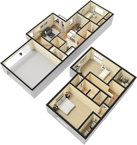Three Bedroom / Two and 1/2 Bath - 1,553 Sq. Ft.*
